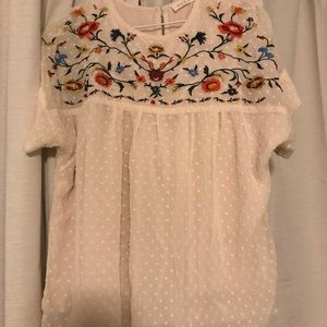 Swiss dot floral blouse